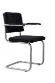 Zuiver Ridge Spisebordsstol m/arm - Sort fløjl
