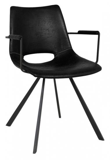 Canett - Coronas Spisebordsstol - Sort m. Armlæn - Wayne spisestol med armlene