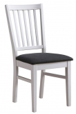 Wittskär Spisebordsstol - Hvid m. Sort sæde - Hvid spisebordsstol med sort sæde