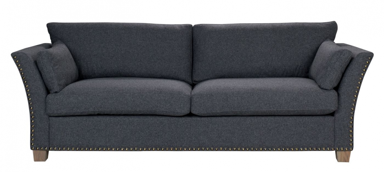 Milton 3-pers. Sofa - Sort Uld m. nitter