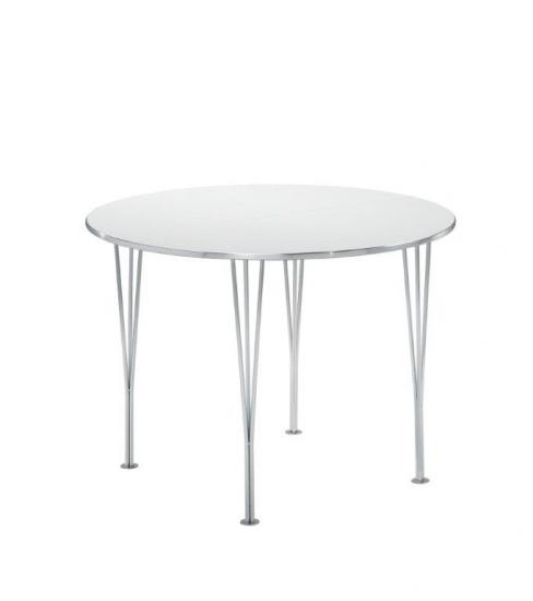 Ida Spisebord m. tillægsplader - Rundt hvidt bord m. 2 tillægsplader