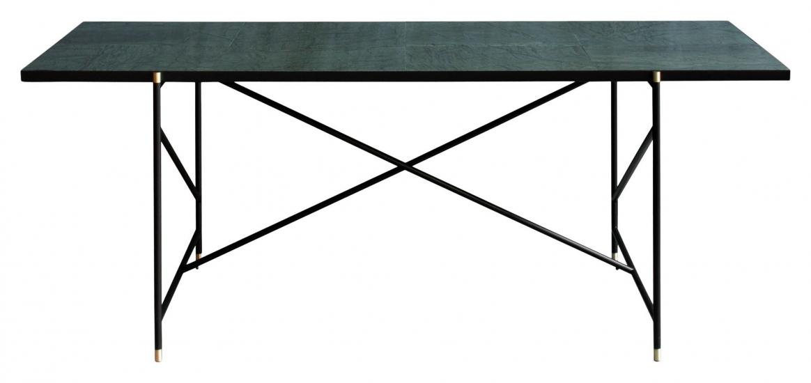 HANDVÄRK Spisebord 184x96 - Grøn Marmor, messing
