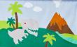 Hoppekids - Dinosaur Forhæng 200x90 - Grøn/blå