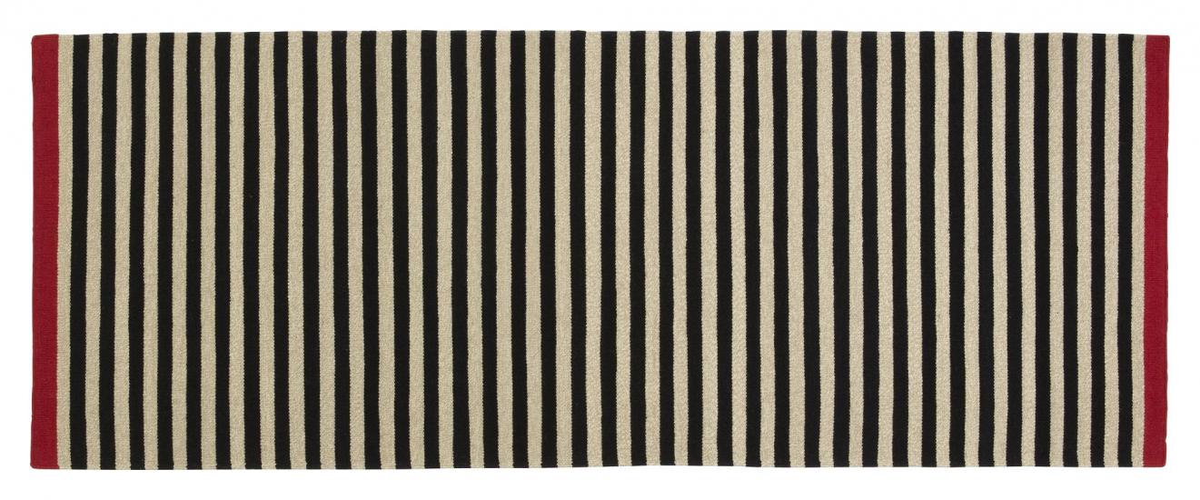 Fabula Living - Rosemary Sort stribet Løber 90x250 - Håndvævet Kelim 90 x 250 cm
