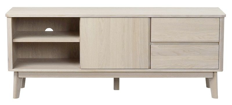 Yumi Tv-bord - Hvidvasket eg - Lavt TV-bord