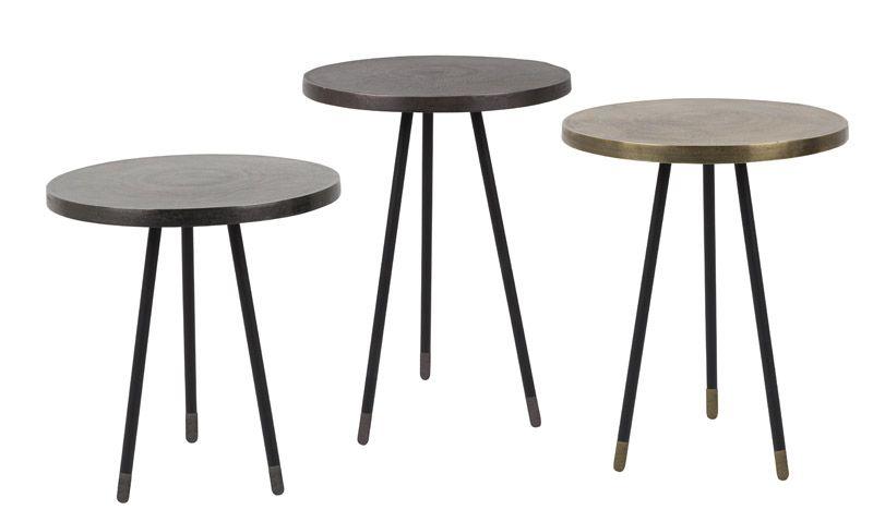 Dutchbone - Alime - Sæt á 3 Indskudsbord - Metal - Sett med tre aluminium sidebord