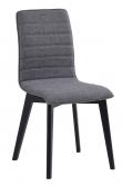 Grace Spisebordsstol, Grå stof, sorte ege ben - Spisebordsstol med lysegråt stofsæde