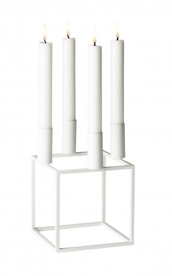by Lassen - Kubus 4 Lysestage - Hvid - Hvid lysestage i metal