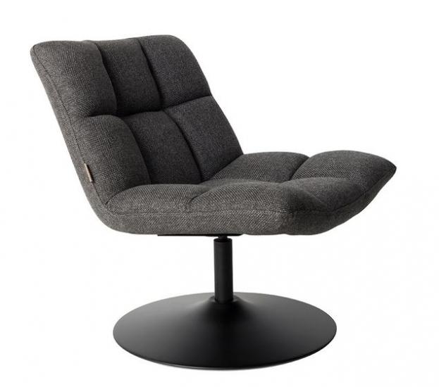Dutchbone - Bar Loungestol - Mørk Grå - Mørkegrå loungestol med svart ramme
