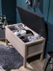 Confetti Bænk - Lys eg/sort sæde