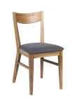 Shane Spisebordsstol - lakeret eg - Spisebordsstol m. gråt uldsæde