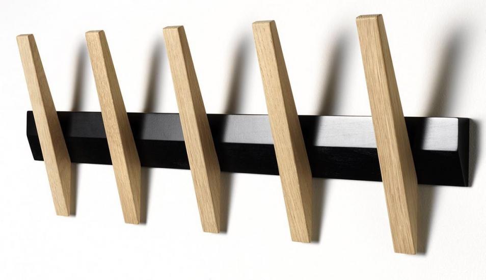 Hoigaard - Tangent 5 Knagerække, Sort/eg