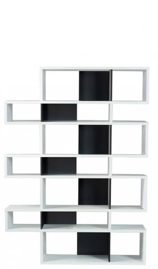 Temahome - London Reol - Hvid/Sort H:220 - Flot reol i hvid/sort m. syv sektioner