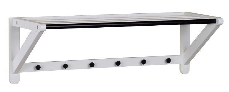Metro Hattehylde - Hvid matlakeret eg - Hattehylde med 6 knager