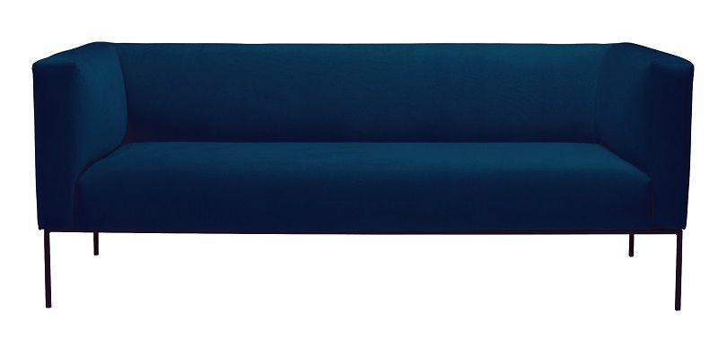sofa blå Kaya 3 pers. sofa   Blå Velour   Gratis fragt sofa blå