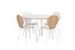 Fusion Spisebord rund, hvid, hvide metal ben, Ø115