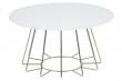 Sekura Sofabord - Hvid glas og krom - Ø81 - Rundt sofabord med hvid glasbordplade