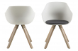 Tina Spisebordsstol hvid plastik - Lysegrå hynde