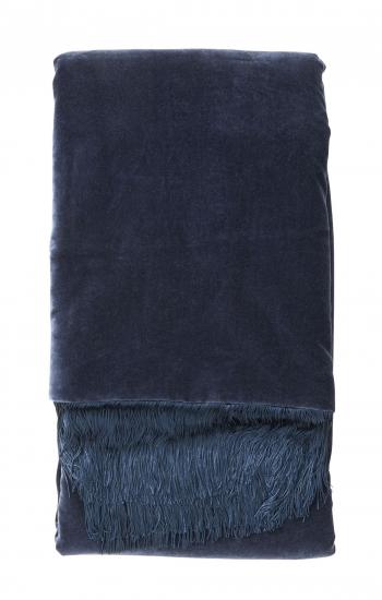 Nordal - Plaid 150x130 m. frynser - Mørk blå velour