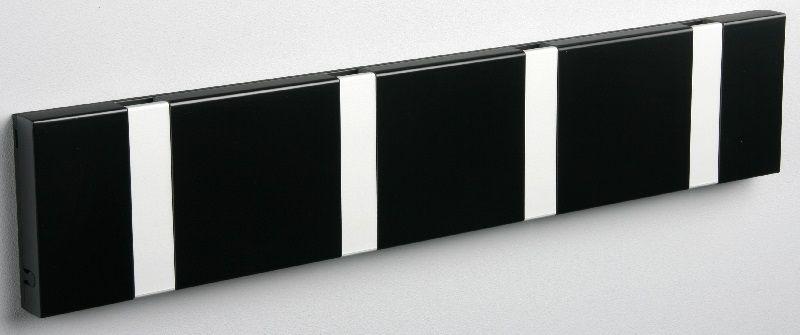 KNAX Knagerække Sort - 4 grå knager