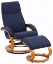 Paprika Hvilestol med skammel Blå Stof - Hvilestol med blåt stof