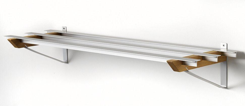 SR-3 Milano Skohylde - Hylde i aluminium og sæbebehandlet eg