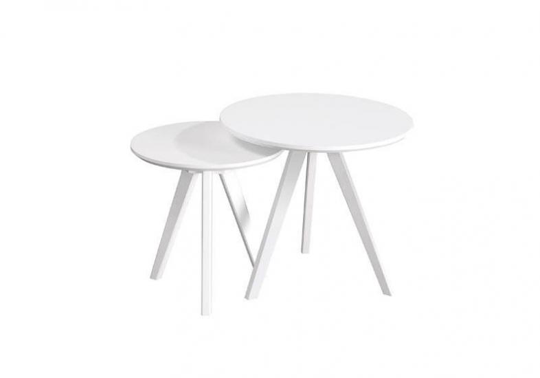 Bello Indskudsbord - Hvid - Sæt med to hvide runde borde.