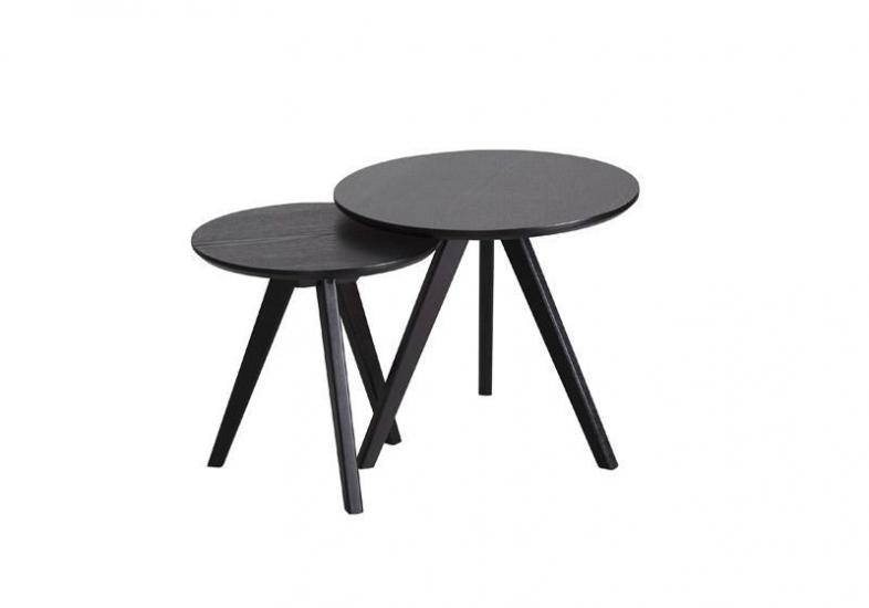 Bello Indskudsbord - Sort - Sæt med to runde borde i sort.