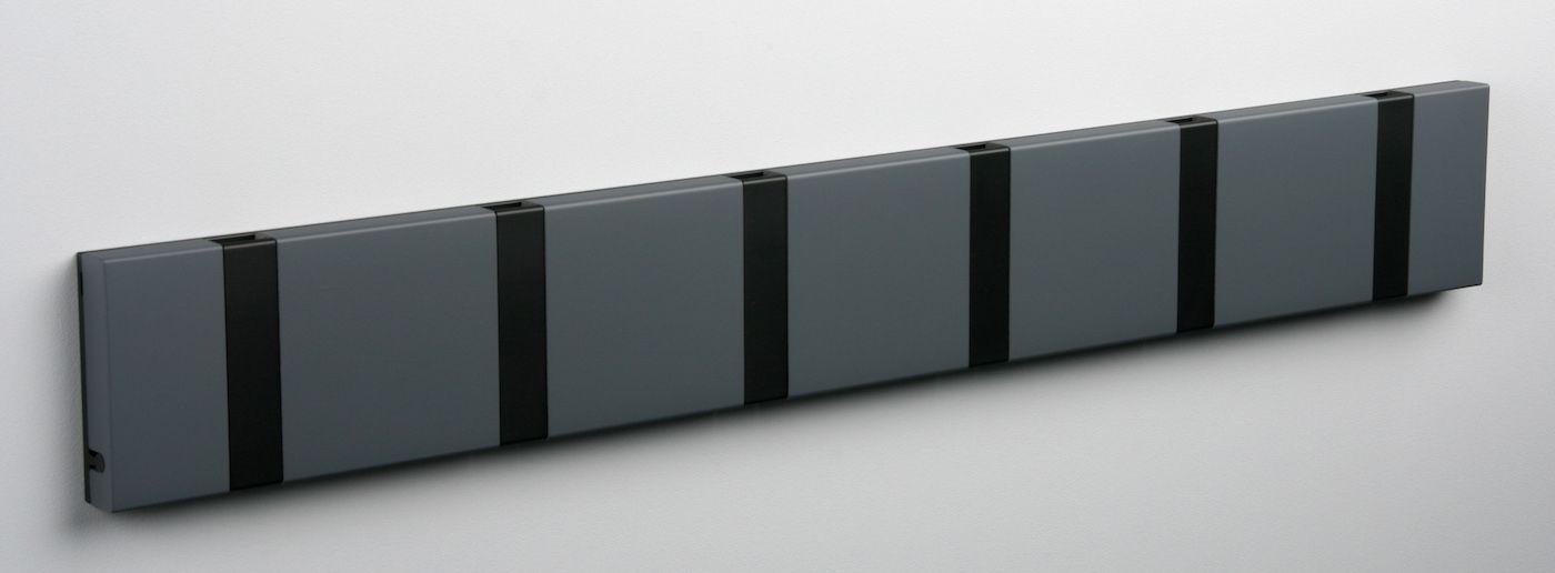 KNAX Knagerække Antracit - 6 sorte knager