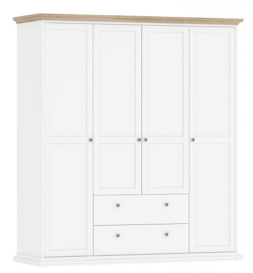 Paris Garderobeskab - Hvid B:181 H:200 - Hvidt garderobeskab med 4 låger