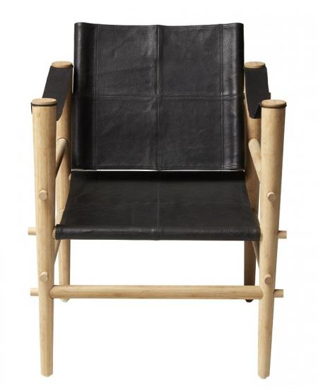 Noble Safari stol - Sort læder - Stel i bambus
