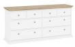Paris Kommode - Hvid/lys træ m/8 skuffer - Hvid kommode med 8 skuffer