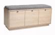 Confetti Bænk - hvidvasket eg 3 skuffer - grå hynde