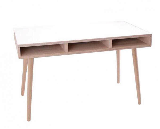By Tika Portland Skrivebord m/3 rum - Hvid laminat - Skrivebord med tre rum