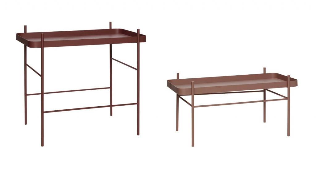 Hübsch Sidebord sæt - Rød metal