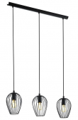 Newtown loftlampe m. 3 pendler - Sort - Skinne med 3 sorte pendler