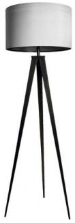 Tripod Gulvlampe - Grå - Stort og flot gulvlampe med sorte ben og grå skærm