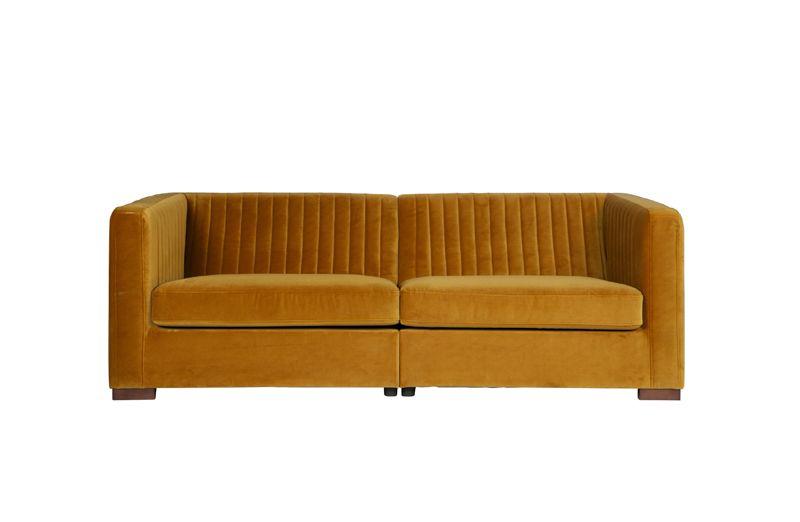Nouveau Sofa L i Velour - Sennepsgul