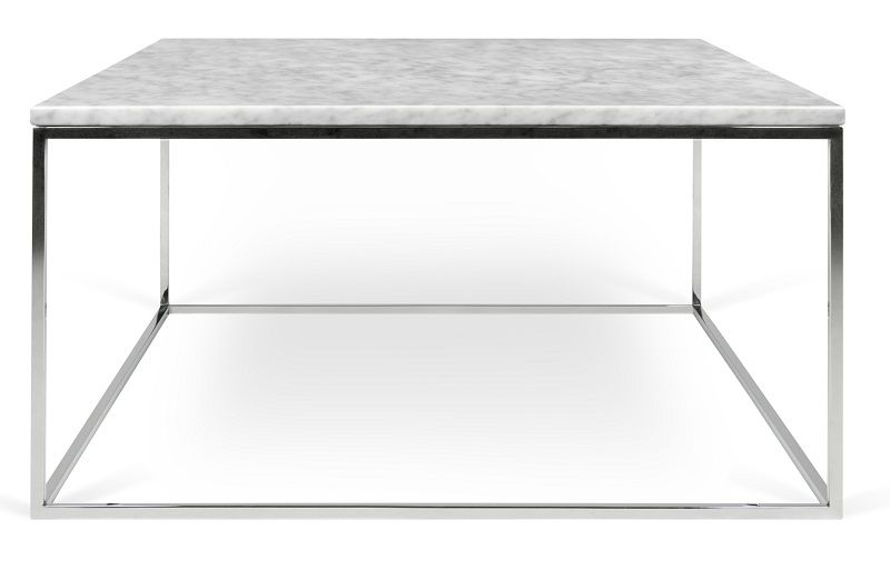 Temahome - Gleam Sofabord - Hvid m/krom stel 75 cm
