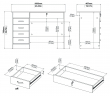 Function Skrivebord - Hvid m/5 skuffer