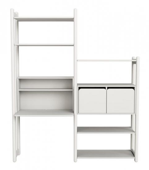 FLEXA Shelfie Combi 5 - Reol - Hvid - Reol med skrivebord, 5 hylder og 2 skabslåger