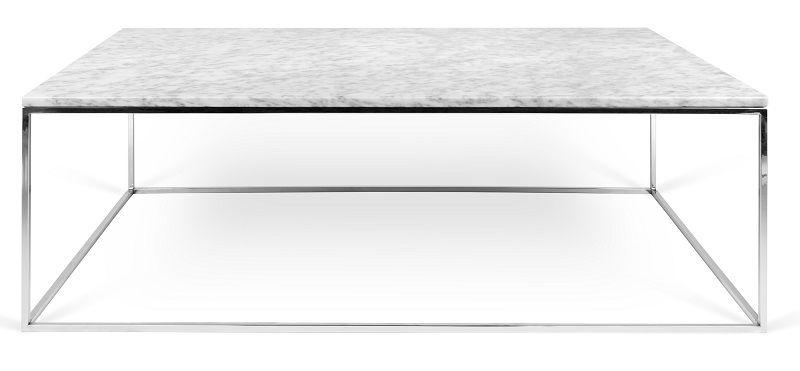 Temahome Gleam Sofabord - Hvid marmor, krom stel 120 cm