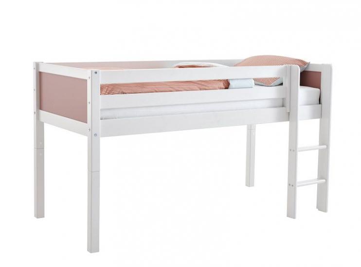 FLEXA Nordic Color Halvhøj Seng 90x200 - Hvid/rosa