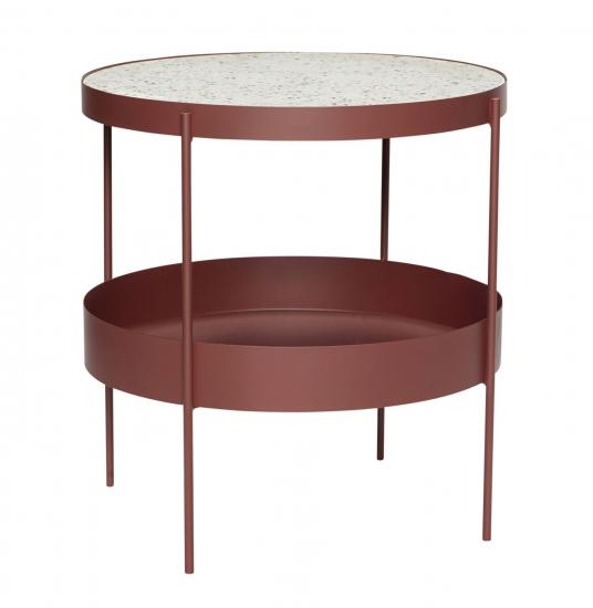 Hübsch Sofabord m. terrazzo top - Rød