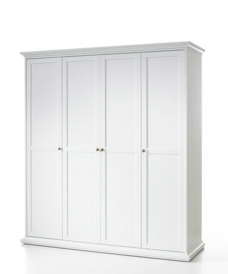 Paris Garderobeskab - Garderobeskab med 4 låger i hvid
