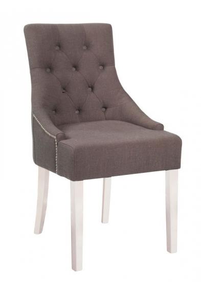 Nova Spisebordsstol - Grå stof og hvide ben - Dekorationssøm og beslag på ryg