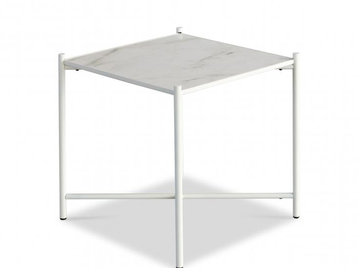 HANDVÄRK - Sidebord 48x48 - Hvid Marmor, hvid stel