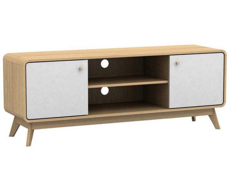 Carl TV-bord Eg-look, hvid - TV-bord med hvide låger