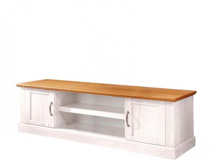 Malika TV-bord hvidpigmenteret/honning fyrretræ      - Hvidpigmenteret TV-bord med honningfarvet top