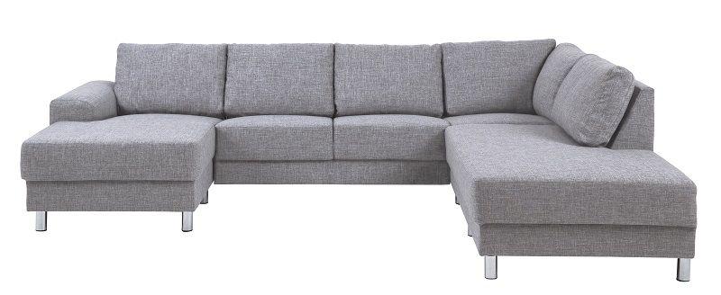 Johnston U-sofa - Grå stof - Højre - Gratis fragt